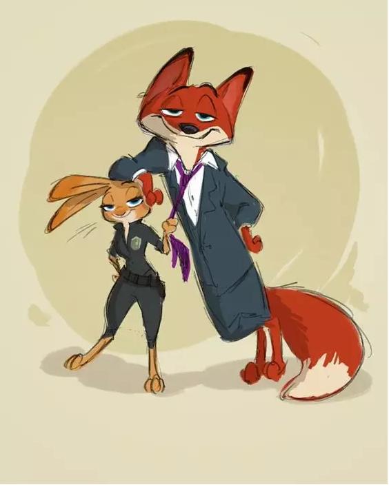 《疯狂动物城》原画手稿流出,狐兔cp大法大放送!